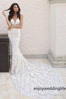 Wholesale modest beach wedding dresses resale online - Arabic Lace Mermaid Wedding Dresses Long Spaghetti Strap Backless Modest Boho Beach Bridal Gowns vestido de noiva Custom