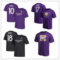 fãs roxos venda por atacado-MLS Orlando Cidade # 18 Dwyer # 10 Kaká # 17 Nani mens Esporte Camisetas de futebol Jersey Fãs Roxos Tops Tees camisas Brancas impresso logos
