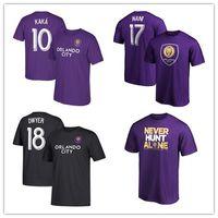 camisetas deportivas de poliéster al por mayor-MLS Orlando City # 18 Dwyer # 10 Kaka # 17 Nani mens Camisetas de fútbol Jersey de fútbol Fans púrpuras Tops Camisetas Camisetas blancas con logotipos impresos