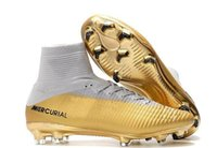 zapatos cr7 blancos al por mayor-2019 nuevos hombres baratos Oro blanco CR7 Tacos Mercurial Superfly FG V zapatos al aire libre Cristiano Ronaldo zapatos