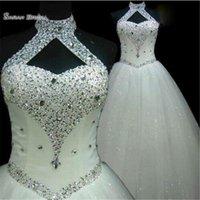 ingrosso abiti da sposa in rhinestone halter-2019 Abiti da sposa Halter di lusso Strass Tulle Plus Size Con Lace Up Sparkly Crystals Bridal Party Dress