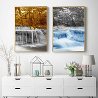 Wholesale waterfall pictures for sale - Group buy Waterfall and Forest Landscape Art Pictures Canvas Paintings for Living Room Home Decoration Nordic Wall Art Posters and Prints
