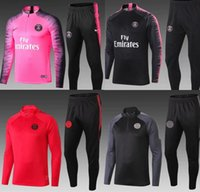 Wholesale pink training set for sale - Group buy PSG pink adult Soccer tracksuit set Paris tracksuits MBAPPE LUCAS HOME Football jacket kit Training suit