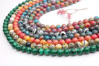 ingrosso beads gems-(Grado A) Perle in pietra naturale di malachite naturale perline sciolte rotondo motivo a strisce multicolore B37727 risultati dei monili che fanno all'ingrosso 8mm circa 50pcs