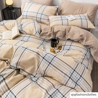 Wholesale leopard bedding set sheets for sale - Group buy Simple Nordic bedding four piece set cotton cotton net red ins Wind quilt cover bed sheet dormitory three piece set
