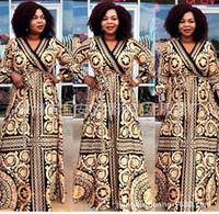ropa ankara al por mayor-Vestidos africanos para mujer Vestido africano vestido estampado Mangas largas sueltas Dashiki ropa para mujer ankara vestidos de talla grande
