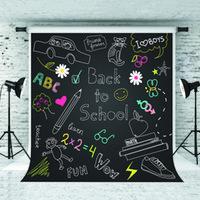 computer-themen großhandel-Traum 5x7ft Zurück zu Schule Hintergrund Cartoon Muster Tafel Fotografie Hintergrund für Kinder Schulthema Schießen Studio Prop 1.5x2.2m