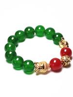 pulseiras de ouro buda venda por atacado-Koraba 12mm Verde Natural Jade Ouro Sakyamuni Buddha Rodada Pedras Preciosas Beads Trecho Pulseira