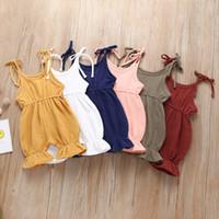 kızlar yaz olanlar toptan satış-Bebek Katı Sling Tulum 6 Tasarım Yaz Kolsuz Pamuk Kat Dantel Tulum Çocuklar Tasarımcı Onesies Kızlar Kıyafetler 0-4 T