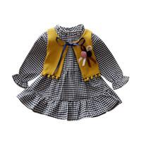 ekose gömleği yelek toptan satış-2019 İlkbahar / Sonbahar Bebek Giysileri Uzun kollu Elbise Kız Ekose Gömlek Toddler Kız Drese + Kürk Yelek 2 Adet Suit