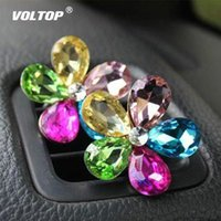 Wholesale car accessories for girls resale online - Crystal Flower Car Accessories for Girls Ornaments Decoration Dashboard Pendant Air Conditioner Outlet Perfume Interior Decor