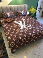 camas de luxo vintage venda por atacado-Clássico padrão geométrico conjuntos de cama Homebedding Luxo Vintage 4pcs impressão Carta Cotton Beddingsuit alta qualidade Pillowcase Tampa Bed