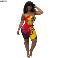 Wholesale eye ties for sale - Group buy 2019 Women s Favorite Tie Dyed Print With Sharp Bodycon Over Knee Overall Beach Holiday Overall Sexy Club Strampler Color K8033 Y19071301