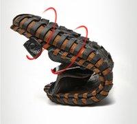 aaa marca top venda por atacado-homens de grande porte chinelos aleta couro genuíno flops para homens top AAA + marca de qualidade de verão sapatos de praia preto e marrom sandálias 40-48