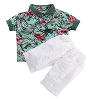 Wholesale white polo outfit resale online - 2019 Latest Children s Wear Children Kids Boy Clothes Fashion Casual Flower Polo shirt Tops Shorts Outfits Set Suit T