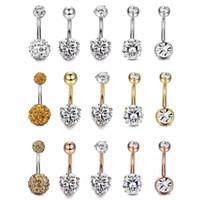 piercing bijoux navel achat en gros de-5pcs / set 3 couleurs CZ 316L bijoux en acier inoxydable barres de nombril argent anneau de nombril nombril piercing bijoux