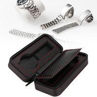 шкафы для хранения наручных часов оптовых-Portable 2Slots Carbon Fiber Leather Watch Storage Box Case Wristwatch Organizer Holder Travel Watch Organizer Case For a