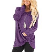 yuvarlak uzun gömlek tasarımı toptan satış-Basit Tasarım kadın T-shirt Bahar Yuvarlak Boyun Uzun Kollu Katı Renk Gevşek Gömlek Tasarımcı T-shirt Kadınlar için