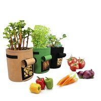 ingrosso vasi da fiori di verdure-Feltro Non tessuto Borse da vivaio Sacchetto di patate da coltivazione in stoffa Seme per piante in tessuto Riutilizzabili Verdure Coltiva vasi Felt Flower Seedling Bags 5026