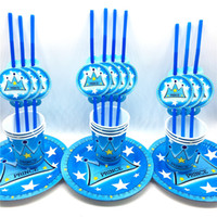 fiesta de cumpleaños decoraciones paja al por mayor-60pcs \ lot Favores para niños Prince Blue Crown Theme Straws Baby Paper Plates Happy Birthday Party Cups Decoration Party Supplies