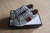 kadınlar için kumaş ayakkabıları toptan satış-Moda lüks tasarımcı kadın ayakkabı Düşük üst sneaker ace glitter köpüklü kumaş sneaker erkekler kadınlar için boyutu 34-46