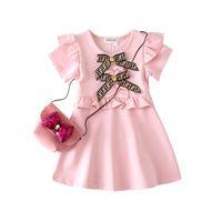 sevimli yay şortları toptan satış-Tasarımcı Yay kızın Elbiseler Çocuklar Sevimli Elbiseler Zarif Ekose Elbise Kısa Kollu Etek Lüks Logo Bebek kızın Giyim