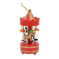 ingrosso scatole rotonde-Natale in legno Music Box attaccatura orna la Mini Merry-go-round albero di Natale appeso a sospensione natale decorazioni per la casa