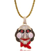 Wholesale clowns necklaces resale online - 2019 Hot Selling Zircon Necklace Copper zircon Gold plated Saw Stunning Figure Clown Pendant Party Necklace
