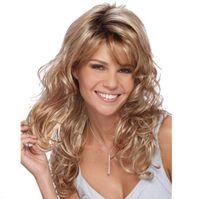 grande perruque brune frisée achat en gros de-Perruque or brun à long cheveux bouclés fond femme grande vague