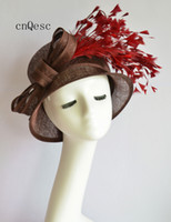 2019 Brown wine Ladies formal Dress hat sinamay fascinator hat church hat for wedding bridal shower mother of the bride w feathers