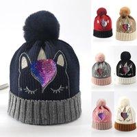 bonés de inverno recém-nascidos para meninas venda por atacado-Quente Boy Girl marca New Newborn Baby Kids Pom Hat Inverno Bling Bling Sequins Crochet Knit Unicorn Beanie Cap Bobble