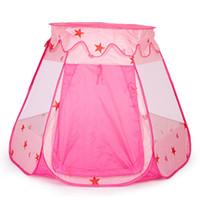 spielzeug spielen schloss groihandel-Bewegliches Baby-Spielzeug-Zelt Folding Prinz Prinzessin Zelt Kinder Castle Play House-Kind-Geschenk im Freien Strand Zipper Zelt Mädchen Geschenke