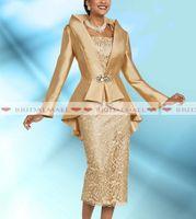 teelänge kleiderjacke großhandel-Plus Größe 2 Stücke Gold Mutter der Braut Kleider mit Jacke 2019 elegante Tee Länge Langarm Hochzeitsgast Kleid formale Abendkleider