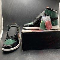 черные кожаные ботинки баскетбола оптовых-SolyFly X баскетбол обувь 1s черный зеленый лакированная кожа верхний дизайнер новая мода мужские тренеры спортивные кроссовки размер 7-12