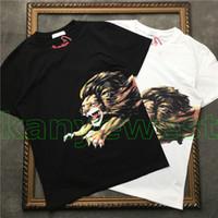 camisa estampada león al por mayor-Diseñador de la marca de verano Top Men T-Shirt Hombres de manga corta Camiseta con bordado de león Camiseta de diseñador para hombres Camiseta de alta calidad Camisetas de moda