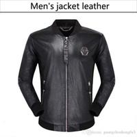 cuero usado al por mayor-NUEVOS abrigos de cuero de la motocicleta de los hombres de moda chaquetas abrigo de cuero usado Chaqueta de cuero