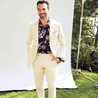 Wholesale plus size linen suit resale online - Summer Champagne Linen Men Suits for Wedding Man Outfit Groom Tuxedo Prom Party Piece Costume Homme Two Buttons Slim Fit Terno Masculino
