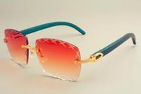 templo libre al por mayor-2019 nueva lente grabado cuadrada venta del envío de las gafas de sol 8300177 gafas de sol, parasol de moda, gafas de sol de madera verde templo naturales