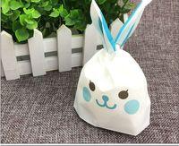 cookie geschenkset großhandel-50 teile / satz Ostern Kaninchen taschen Neue nette langohrige bunny tasche Cookie süßigkeiten tasche snack beutel