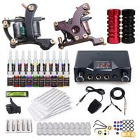 spulen tätowierungen großhandel-Tätowierungs-Set für Anfänger 2 Maschinen Spulen Pistolen Stromversorgung 20 Farben Tinten Set Einweg-Nadeln Tipps