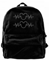 Wholesale mouse backpack for sale - Group buy Mouse Heartbeat PK Fashion Canvas designer backpack For Men Women Teens College Travel Daypack Leisure bag Black