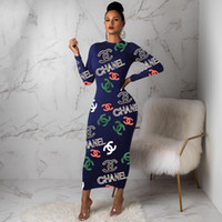 женщины оптовых-S-2XL Письма печати Женщины Лоскутное платье 2020 Летняя 3/4 Sleeve Casual Sex платья плюс размер Bodycon офиса платье Vestidos оптом.