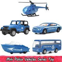 lancha de brinquedo venda por atacado-5 pçs / set mini liga polícia veículos modelo de carro toys para crianças diecast helicóptero speedboat bus suv carro presentes para meninos