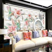 papel de parede de borboleta para desenhos de paredes venda por atacado-3D moderna TV fundo papel de parede colisão texturizada de volta borboleta flor 3D círculo arte design parede papel sofá quarto pano de fundo