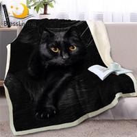 Wholesale black blanket fabric resale online - BlessLiving Black Cat Throw Blanket on Sofa D Animal Plush Sherpa Blanket Lovely Pet Bedspreads Fur Print Thin Quilt x200cm Y200417