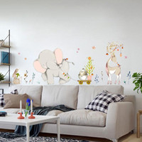Wholesale baby decorations for nursery for sale - Group buy Cartoon Forest Flowe Elephant Rabbit Giraffe Animal Wall Stickers Kids Room Decoration Vinyl Wallpaper Baby Bedroom Wall Decals