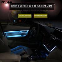neonblaue glühbirnen großhandel-Carbon-Faser-Radio Verkleidung LED Umgebungslicht Innentür-AC-Panel dekoratives Licht Atmosphäre Licht für BMW 3er F30 F35 F11 Auto accesso