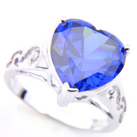 kalp kesme alyans toptan satış-5pcs / Lot YENİ Mavi Topaz Gemstone Aşk Kalp Kesim 925 Gümüş Kaplama Yüzük Düğün CZ Takı Hediye Yüzük Lady