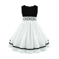 vestido de dama de honor de raso negro rodilla al por mayor-BlackWhite Satin Toddler Little Big Girls Boda Dama de honor hasta la rodilla Vestido niños