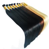 brazilian insan saçı uk toptan satış-Özel bağlantı Toplu Saçın 55cm doğal siyah 50g sarışın renkli